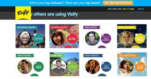 Schermata di accesso di Vizify