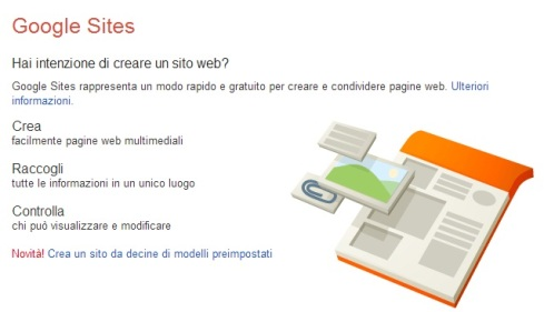 Uno Screen Shot da Google Sites