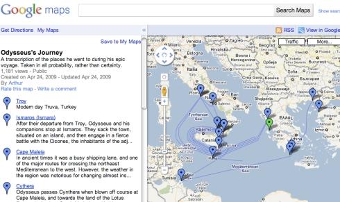 L'Odissea ricreata su Google Maps