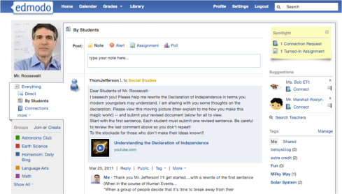 Uno screen shot da EdModo