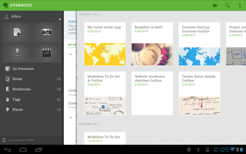 Uno screen shot da Evernote