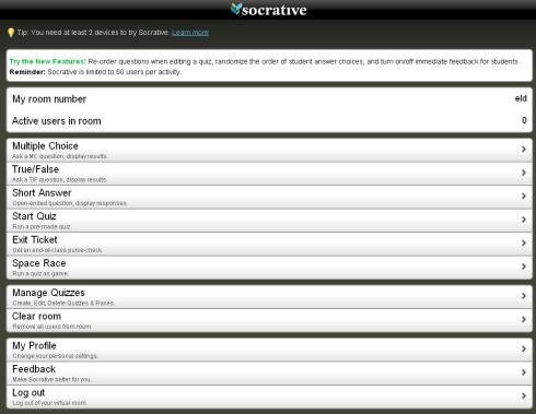 Uno screen shot da Socrative