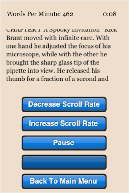 Uno screen shot da Speed Reading Trainer